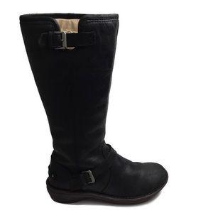 Ugg Tupelo Black Leather Moto Style Boots Size 6